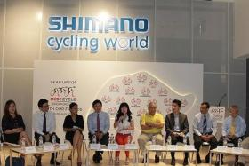 START OF A GREAT RIDE: OCBC and its corporate partners at the launch of the registration for the OCBC Cycle 2015 corporate rides yesterday.