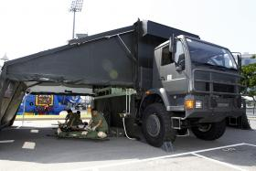The mobile medical vehicle used by Mindef.