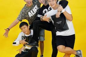 TOGETHER: (From left) Joshua Tan, Tosh Zhang, Wang Weiliang and Maxi Lim star in Ah Boys To Men 3: Frogmen, their final movie in the series.