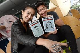DRAWN TOGETHER: Radio DJ Rosalyn Lee and boyfriend Justin Vanderstraaten sketched each other at the Portraits of the People event on Wednesday.