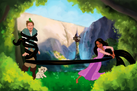 Brian Flynn, his girlfriend Manini and their dog Willa in a scene from Disney movie Tangled.