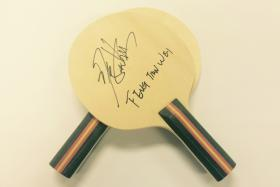 Table tennis bats signed by Feng Tianwei. The New Paper sports desk is giving away bats signed by Singapore table tennis stars Feng Tianwei and Gao Ning.