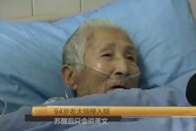 Baffling: This elderly Chinese woman, 94, suffered a stroke, went into a coma and woke up not being able to answer questions in her native tongue. She could only reply in English.