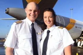 Peter Elliott and his daughter, Laura, flew together for the first time earlier this month.