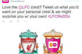 Dunkin Donuts was slammed by Liverpool fans for disrespecting the club's crest during a social media campaign.
