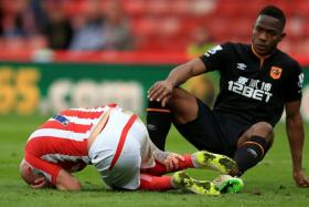 Stoke City's Stephen Ireland (left) clutches his leg after a tackle by Hull City's Maynor Figueroa.