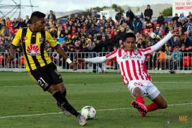 PRAISE: Safuwan Baharudin (above, right) has played well for Melbourne City over the last couple of months.