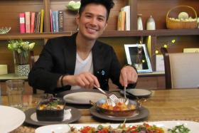 DELICIOUS: US-based local pop singer Wiltay having lunch at Waterfall Ristorante Italiano at Shangri-La Hotel Singapore. Beef Tenderloin Baked Eggplant Parmesan Seafood Salad