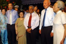 (L to R) Prime Minister and Mrs Lee Hsien Loong, then-President and Mrs S R Nathan, and Mr and Mrs Lee Kuan Yew at the swearing-in ceremony of PM Lee Hsien Loong at the Istana on 12 August 2004.