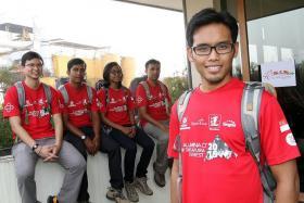 TOGETHER: Aluminaid Team Singapura Everest 2015 members (from left) Mr Seumas Yeo, Mr Ismail Latiff, Ms Nur Yurisna Ya'akob, Mr Zulkifli Latiff and Mr Muhammad Hilwan.