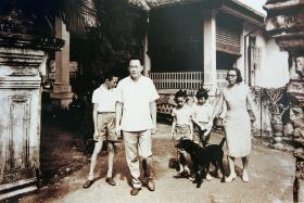 FAMILY HOME: Mr Lee and his wife, Madam Kwa Geok Choo, at their home in Oxley Road with their three children.
