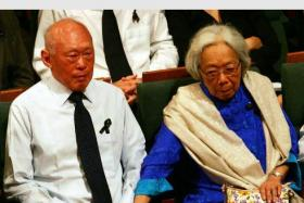 Mrs Lee Kuan Yew comforting her husband at the funeral service of Mr S. Rajaratnam at the Esplanade in 2006.