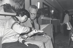 Dr Lee Wei Ling (left) in a photo taken in 1980 with her father, the late Mr Lee Kuan Yew.