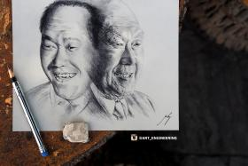 To Sir, with love: Melvyn Koh drew this picture of the late Mr Lee Kuan Yew in the hope that he can give it to PM Lee.