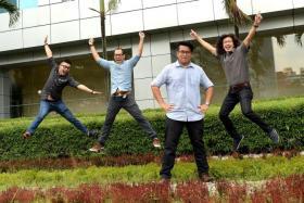 WINNERS: (From far left) Mr Billy Ker, MrKelvin Chan, Mr Ng Jun Sen and Mr Jonathan Choo. Page Design of the Year winner Billy Ker Young Journalist award winner Ng Jun Sen