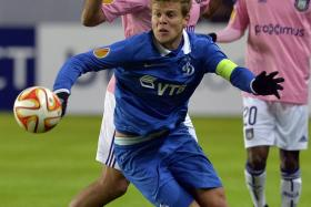 Dynamo Moscow's Aleksandr Kokorin (front) in action during a Uefa Europa League round of 32 match in February