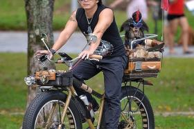 DOG 'N' ROll: Mr Matthew Koh and his dachshund, Max, on a bicycle he has specially modified to carry his dog in the back while he rides long distances.