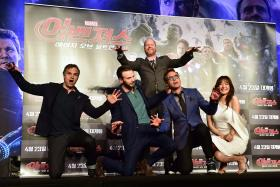 Mark Ruffalo, Chris Evans, Joss Whedon, Robert Downey Jr and  Kim Soo-Hyun at the press conference to promote Marvel's Avengers: Age Of Ultron in Seoul, Korea