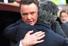 STALEMATE AT OLD TRAFFORD: The last time Louis van Gaal (facing) and Jose Mourinho met in the EPL, they shared the spoils.