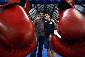 END THE DROUGHT: Mohammed Mukhlis Amat (left), who won a SEA Games boxing gold in 1985 after getting knocked out in the 1983 final, believes current boxers like Ridhwan Ahmad (right) can end Singapore's 30-year gold drought.