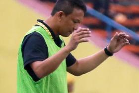 TOO MUCH FOR FANDI: LionsXII coach Fandi Ahmad was a picture of frustration throughout the match.