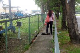 Madam Janet Faal fell into the manhole while helping her friend to park her car.