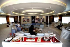 LUXURIOUS: The yacht's common room on the upper deck.