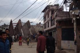 Kathmandu-based journalist Guna Raj Luitel tweeted several photos showing the aftermath of the 7.9 magnitude earthquake that rocked Nepal.
