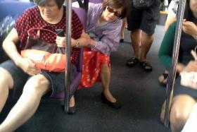 JOLT: (Above, far left) Madam Deng Xiu Qin was taken to hospital for injuries to her ankles and head.