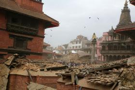 DEVASTATION: Patan Dubar Square just before and moments after (above) the quake.