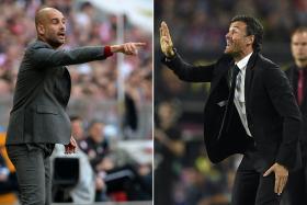File pictures of Bayern Munich coach Pep Guardiola (left) and Barcelona coach Luis Enrique