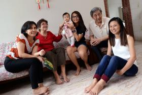 FAMILY SUPPORT: Isabelle Li (centre) with (from left) her mother Sim Kwang Hung, paternal grandparents and sister Christabelle.