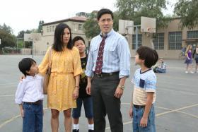 Fresh Off The Boat, starring (from left) Ian Chen, Constance Wu, Hudson Yang, Randall Park, Forrest Wheeler