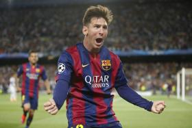 Lionel Messi celebrating scoring his first goal. Barcelona trashed Bayern Munich 3-0 to in the first leg of the Champions League semi-final.