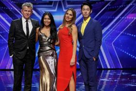 FINALISTS: Tap dance act Dance Thrilogy, the only Singaporean act to make it to the Asia's Got Talent final. IMPRESSED: Asia's Got Talent judges (from left) David Foster, Anggun, Melanie C and Van Ness Wu.