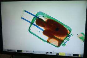 A picture provided by Spanish Guardia Civil on Friday shows an X-ray image showing the eight-year-old in a suitcase