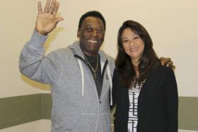 Brazilian soccer legend Pele with partner Marcia Cibele Aokiat the Albert Einstein Hospital in Sao Paulo.
