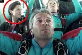 NABBED: A British Army sergeant has been arrested on suspicion of attempted murder after his skydiving wife Emile Cilliers' (circled) parachute failed to open, causing her to crash-land.