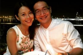Local actor Alan Tern (right), seen here with wife-actress Priscelia Chan, will be going bald in aid of children with cancer.