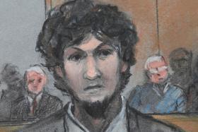 Boston Marathon bomber Dzhokhar Tsarnaev is sentenced at the federal courthouse in Boston.