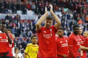 Steven Gerrard applauds the Anfield faithful during his final appearance at home for Liverpool.