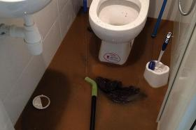 STUCK: A toilet flooded with waste matter and liquid from a pipe that was clogged. Items such as shampoo bottles have been the cause of clogged pipes