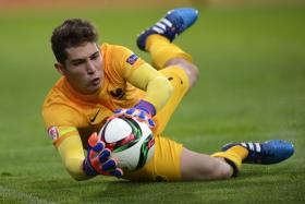 Luca Zidane in action in the  Euro  Under-17 match against Scotland early this month