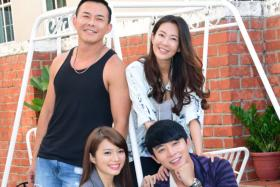 HAND IN HAND: The new drama will be starring (behind) Bryan Wong, Jesseca Liu, (front) Seraph Sun and Aloysius Pang.
