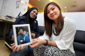 SAVED: Madam Maimunah Borhan (left) met Miss Siti Nur Fatin last Friday. Miss Fatin saved her husband, Mr Nur Muhammad Sapini (in photo), when he collapsed suddenly at a wedding.