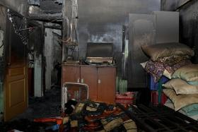 AFTERMATH: Shards of glass were strewn all over the flat. The walls and ceilings were charred.