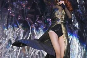 BANNED: Jolin Tsai during a recent concert in Taipei over the weekend. She expressed disappointment that her lesbian-themed song has been banned here.