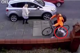 This shocking CCTV footage shows how Mr Andrew Holland ran into Lucie.