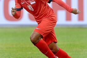 RED-HOT: Fazrul Nawaz, who has scored eight goals for Warriors FC this season, equalised for Singapore before Khairul Amri bagged the winner.