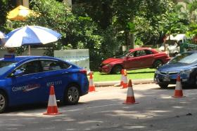 The red car that police shot at came to a stop at Orange Grove Road.